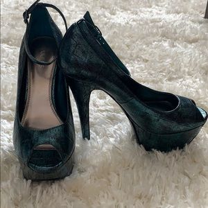 Teal Snake-print Pumps